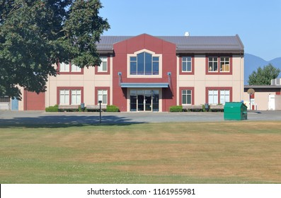 CHILLIWACK, BC/Canada - August 7, 2018: A typical rural school in western Canada as seen here on August 7, 2018 near Chilliwack, British Columbia, Canada.