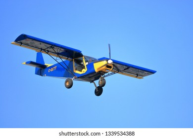 CHILLIWACK, BC/Canada - March 14, 2019: A small Zenair STOL CH 701 2 seater descends toward the Chilliwack, BC, Canada airport on March 14, 2019.