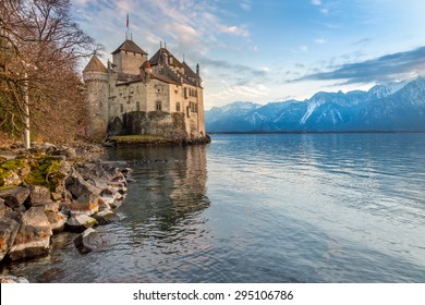 Chillon castle reflected in Geneva lake in the afternoon, Montreaux, Switzerland