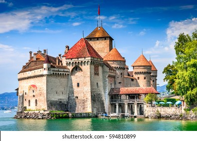 Chillon Castle, Switzerland. Montreaux, Lake Geneve, one of the most visited castle in Swiss, attracts more than 300,000 visitors every year.