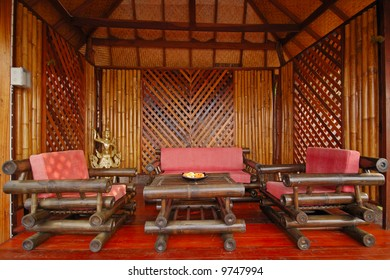 Chillout and relax zone with wooden chairs
