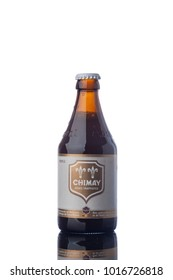 "Chimay Trappist Beer Bottle Isolated White Background  ""illustrative editorial"""