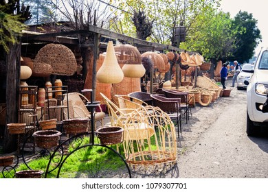 """CHIMBARONGO, CHILE - MAY, 2018: Handmade wicker craftwork from Chimbarongo, named """"Handcrafted Cities of the World"""" by international NGO. Chimbarongo is a city located near Rancagua in the Libertador"""