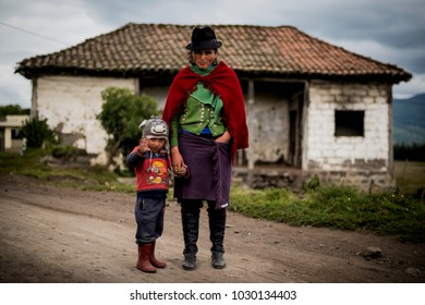 Chimborazo Ecuador January 2015 mother and son posing for the photo