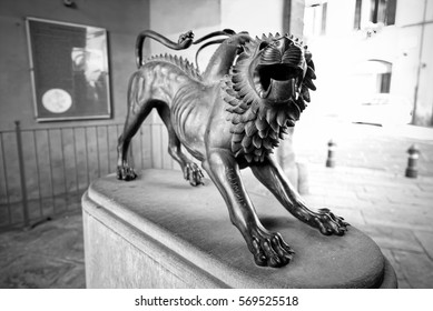 The Chimera, a mythological symbol of Arezzo (Tuscany, black & white)