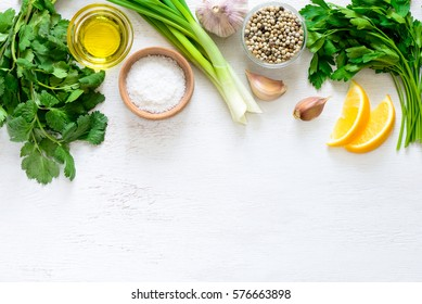 Chimichurri sauce basic ingredients, view from above, flat lay, blank space for a text
