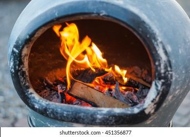 chiminea fire flames