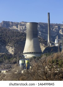 Chimney of a Cercs Geothermal power station in Bergueda�, Catalonia (Spain), which produces electricity from fossil fuels