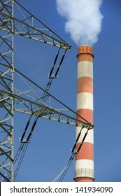 chimney of electric power station and pole