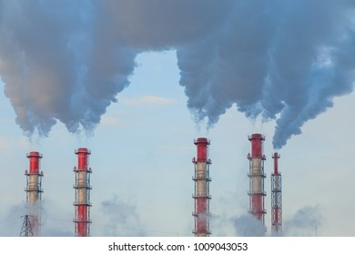 Chimney of the old factory. Air pollution