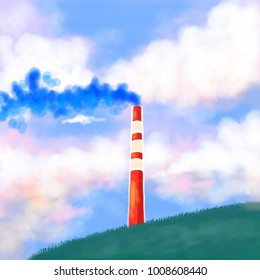 Chimney on a cloudy sky background