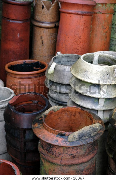 Chimney pots in a salvage yard