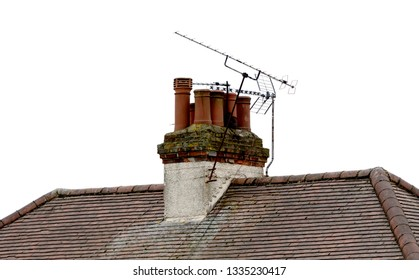 Chimney pots in a set on old building in London