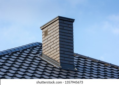 chimney and roof of modern building