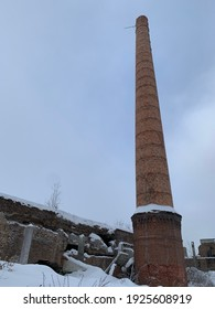 chimney and ruins of an old disused brick factory.