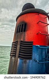 Chimney of sea ship