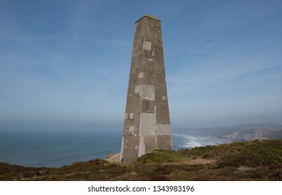 Chimney Stack by the Disused Airfield on the Atlantic Coast near Porthtowan on the South West Coast Path between Perranporth and Portreath in Rural Cornwall, England, UK