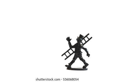 Chimney sweep figure isolated on white background: Lucky New Year