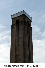 Chimney / tower of decommissioned Bankside Power Station (active 1891-1981), now used as Tate Modern gallery in London.