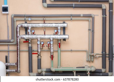 Chimneys for boiler station, pipes with sensors of pressure and temperature.