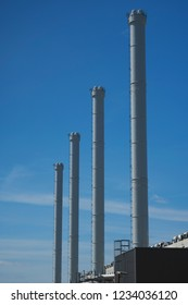 Chimneys of a cogeneration plant in a detail shot