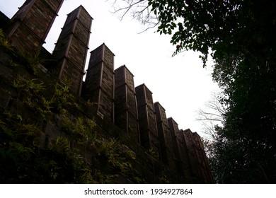 Chimneys of many kilns like ruins