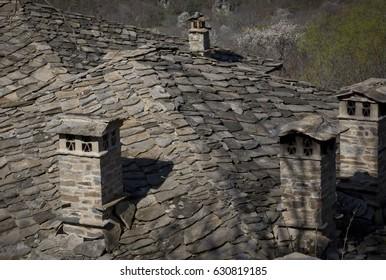 Chimneys in an old Bulgarian village