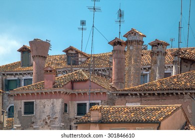 chimneys on tiled roofs