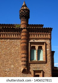 Chimneys in revival house of L´Ordal.  Colonia Guell. Barcelona. Spain