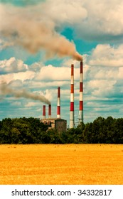 Chimneys of thermal power plants