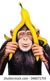 Chimpanzee with a banana peel on his head. Watercolor illustration.