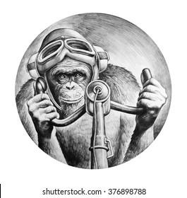 Chimpanzee pilot at the controls of the aircraft. T-shirt design. Pencil drawing illustration.