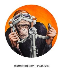 Chimpanzee pilot at the controls of the aircraft. Watercolor illustration.