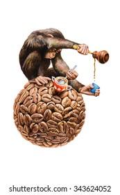 Chimpanzee pours coffee. Watercolor illustration.