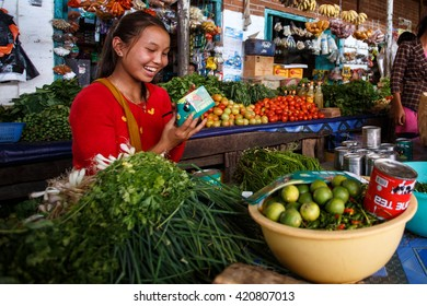 CHIN STATE, MYANMAR - JUNE 18 2015: Fresh fruit and veg market in the recently opened for tourists Chin State Mountainous Region, Myanmar (Burma)