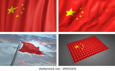 China 3D Flag, Chinese Abstract Flag Background (3D Render Art)