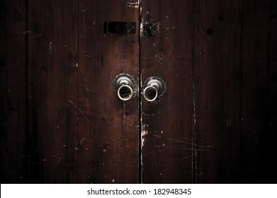 China antique style door with lock and dark mood.