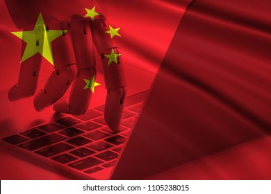 China artificial intelligence disruption everything industry 4.0 in global race ai dominance , neural network , deep learning concept. Double exposure of Flag and robot hand typing laptop.