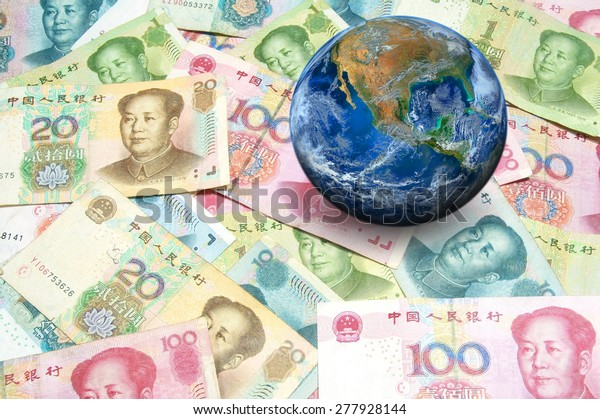 China banknote with planet world map. Chinese Crisis Economic of the world, business news background  Elements of this image furnished by NASA