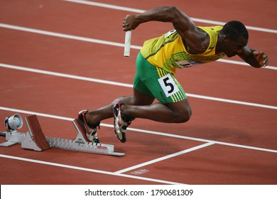 China Beijing August 2008 Summer Olympic Games: Nesta Carter Men's 4 x 100m relay kicked off, team consisting of Asafa Powell, Nesta Carter, Usain Bolt and Michael Frater won the gold medal.