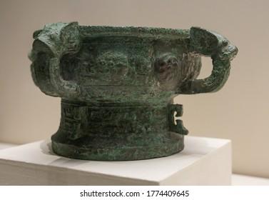 """CHINA BEIJING - May 3, 2020: """"Yi Hou Ze"""" Bronze Gui(food container), Ancient China Western Zhou Dynasty (c. 11th century-771 BC), King Kang's reign Unearthed at Yandunshan, Dantu, Jiangsu Province."""
