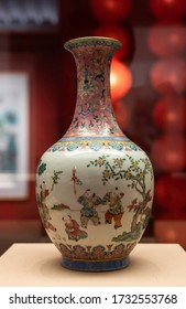 CHINA, BEIJING - May 5 2020: Famille rose Children Playing design Porcelain bottle. Ancient Chinese Qing Dynasty.
