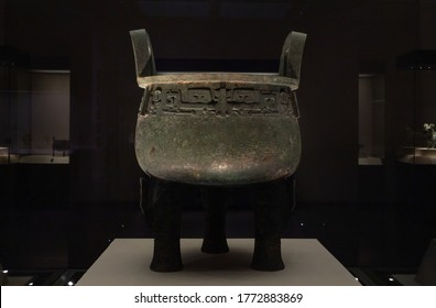 """CHINA BEIJING - May 5, 2020:""""Zi long"""" Bronze Ding(food container), Ancient China Late Shang Dynasty (c. 14th-11th centuries BC) Reportedly Unearthed at Huixian, Henan Province. 1920s."""
