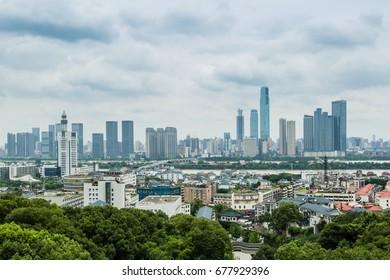 China Changsha city-Jul 6 2017:changsha cityscape view from yuelu mountain top