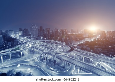 China Chengdu, the evening of the city overpass traffic