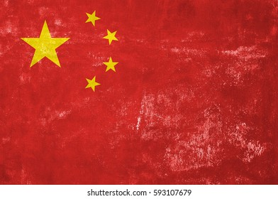 China - Chinese Flag on Old Grunge Texture Background
