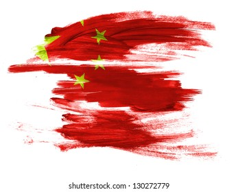 China. Chinese flag  painted on white surface
