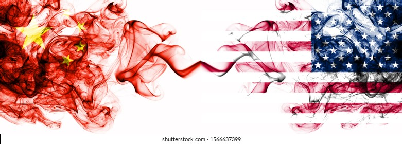 China, Chinese vs United States of America, American, USA smoky mystic states flags placed side by side. Concept and idea thick colored silky abstract smoke flags