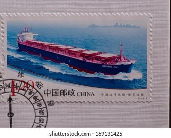 CHINA - CIRCA 2011:A stamp printed in China shows image of Ocean Shipping Transportation,circa 2011