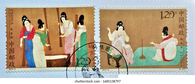 CHINA - CIRCA 2013: A stamps printed in China shows 2013-8 Painting of Beating White Silk, circa 2013.